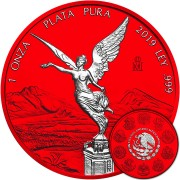 Mexico LIBERTAD RED SPACE series SPACE EDITION 1 Onza Silver coin 2019 Galvanic plated 1 oz
